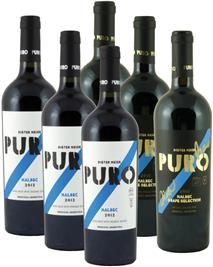3 x 75cl PURO Malbec 2018 und 3 x75cl PURO Grape Selection 2016